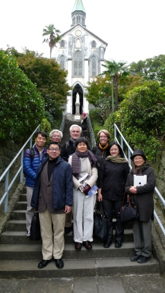 "Pilgrim group at Oura Church, where ""hidden Christians"" were discovered 150 years ago"