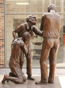 """Reconciliation"" sculpture at Duke. Margaret Adams Parker, sculptor."